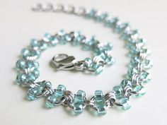 Chainmaiile: Stainless Steel Chainmaille Anklet - Seafoam Beaded Ankle Chain via Etsy - Inspiration. Metal Jewelry, Beaded Jewelry, Women's Jewelry, Jewlery, Ankle Chain, Chainmaille Bracelet, Beaded Anklets, Making Ideas, Handcrafted Jewelry