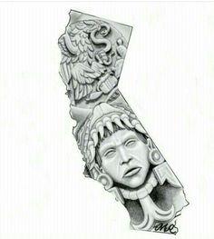 Chicano Arte More Chicano Art Tattoos, Chicano Drawings, Body Art Tattoos, Sleeve Tattoos, Payasa Tattoo, Yogi Tattoo, Aztec Drawing, Aztecas Art, Mayan Tattoos