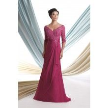 Hot Pink V-neck Three-quarter Sleeves Beaded Lace Chiffon #Mother Of The #Bride #Dress  - $229.00
