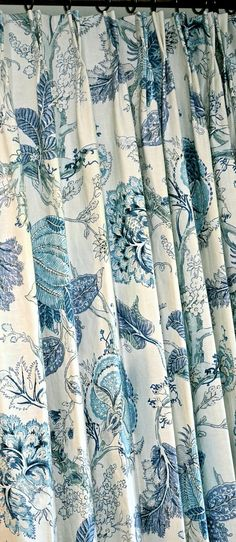 Blue Floral Curtains Linen Curtains Floral by TheodoraStudio