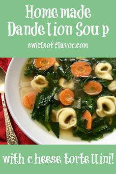 Seasoned with fresh basil and filled with tortellini and springtime greens, our homemade dandelion soup recipe will be a family favorite!