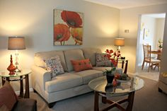 staging a vacant living room Images Staged with Flair Living Room Images, Home Living Room, Sofa, Couch, Staging, Furniture, Home Decor, Color Combinations, Role Play