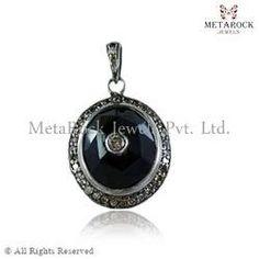 Black Spinel Gemstone Diamond Charm Pendant