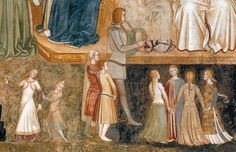 "Detail, Fresco from Santa Maria Novella in Florence,""Way of Salvation"",1365-68. Andrea di Bonaiuto."