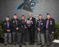 from Carolina Panthers The Military Order of the Purple Heart has recognized the Carolina Panthers for their military outreach efforts, making them the first NFL Purple Heart Team