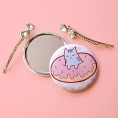 Compact Mirror Cat Donut small round pocket sized looking