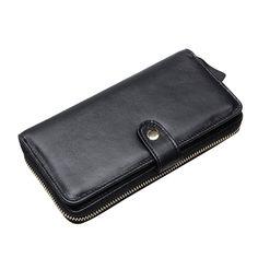 Sale 24% (31.5$) -  Men Women Clutch Black Wallet Long Zipper Wallet Cell Phone Wallet