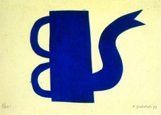 Blauwe kan - 1997 - 48 x 30 cm grafiek houtdruk 9/20