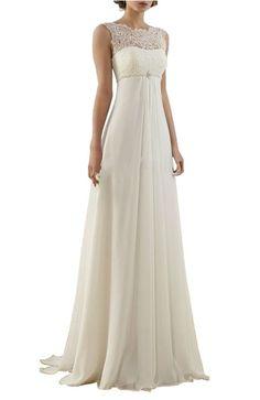 Lovelybride Empire Cap Sleeve Long Chiffon Lace Maternity Beach Wedding Dress