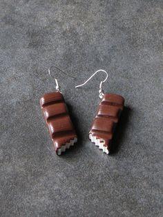 Boucle d'oreille barre de chocolat croquée en fimo : Boucles d'oreille par jl-bijoux-creation