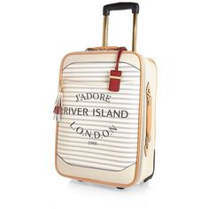 River Island Cream stripe Paris print wheelie suitcase ($140) ❤ liked on Polyvore featuring bags, luggage, bags / purses, cream, make up bags / luggage and women