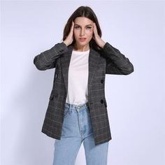 Autumn Winter Women Double Breasted Blazer Notched Collar Plaid Pattern  Slimming OL Business Suit Elegant Outwear 1711c62c9