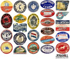 STEAMTRUNK MINIS II - Digital Collage Sheet - Vintage Travel Label, Suitcase Luggage Label, Europe, Paris, France, Italy, Germany, India. $3.50, via Etsy.