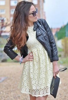 Fashion Trends for Spring 2014: 30 Outfit Ideas Inspired from the Runway, cropped leather jacket with girly, lacy dress LOVE