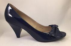 Ellen Tracy Haley Women's Navy Blue Open Toe Slide On High Heel Size 10 #EllenTracy #OpenToe
