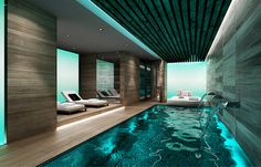 awesome Adorable Indoor Pool And Spa Design Ideas You Never Seen Before Pool Spa, Amazing Swimming Pools, Swimming Pool House, Luxury Swimming Pools, Luxury Pools, Indoor Swimming Pools, Swimming Pool Designs, Lap Swimming, Luxury Spa