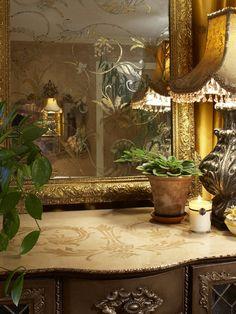 Reverse gilded mirror with Modello stencil. Grace Designs Dallas's Design,