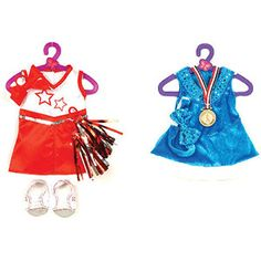 "My Life As Cheerleading and Ice Skating Doll Outfits for 18"" doll"