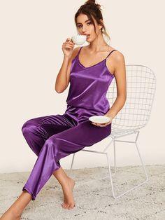 Shop Satin Cami Top & Pants Pajama Set at ROMWE, discover more fashion styles online. Cotton Nighties, Satin Sleepwear, Satin Pajamas, Pijama Satin, Satin Pyjama Set, Pajama Set, Lingerie Outfits, Women Lingerie, Sexy Lingerie