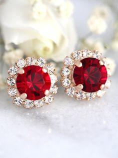 Ruby Earrings Red Ruby StudsSwarovski Ruby Gold Bridal Earrings, Rose Gold Earrings, Bridesmaid Earrings, Bridesmaids, Diamond Earrings, Garnet Earrings, Stud Earrings, Red Garnet, Garnet Stone