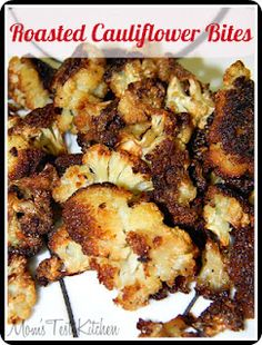Roasted Cauliflower Bites - made this tonight, it was fabulous and the veggie phobic husband said I'll have some more of those! Roasted Cauliflower Bites - made this tonight, it was fabulous and the veggie phobic husband said Cauliflower Bites, Roasted Cauliflower, Vegetable Dishes, Vegetable Recipes, Healthy Snacks, Healthy Eating, Clean Eating, Breakfast Healthy, Vegan Recipes