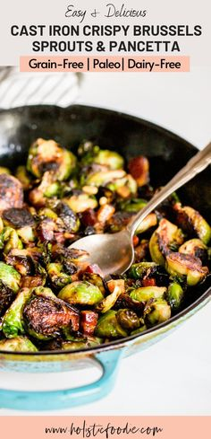 Crispy cast iron skillet brussels sprouts with pancetta is a delicious and easy side dish. This healthy side dish has a sweet note to it from a drizzle of maple syrup. Learn how to cook these crispy brussels sprouts in just 20 minutes! Low Carb Side Dishes, Healthy Side Dishes, Side Dishes Easy, Side Dish Recipes, Clean Eating Recipes, Cooking Recipes, Roasted Sprouts, Cast Iron Recipes, Holiday Side Dishes