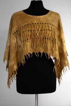 Felted poncho, native american inspired, deer skin colored, hand dyed