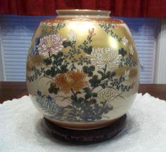 Beautiful Large Vintage Asian Art Pottery Vase Jardiniere wth Wood Stand