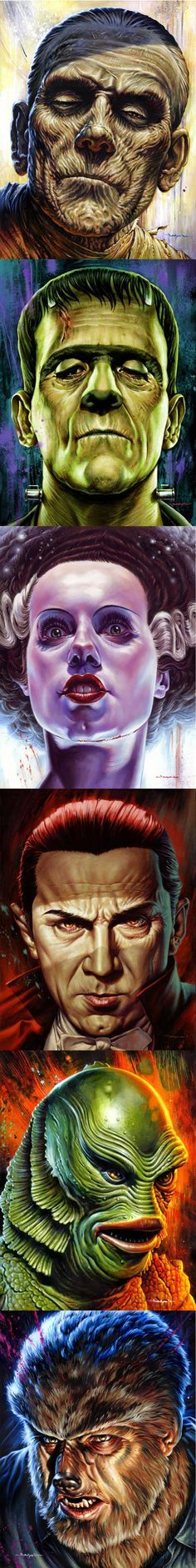 "~ Jason Edmiston's Incredible ""Monsters"" Series Paintings Of The Classic Horror Movies We Luv. Mary Shelley Frankenstein, Bride Of Frankenstein, Beetlejuice, Jason Edmiston, Horror Monsters, Horror Icons, Famous Monsters, Classic Horror Movies, Classic Monsters"
