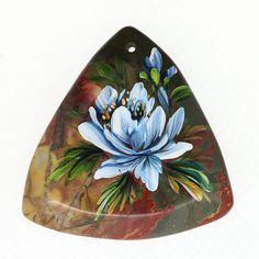 Hand Painted flower Natural Gemstone pendant ZL806750 #ZL #Pendant