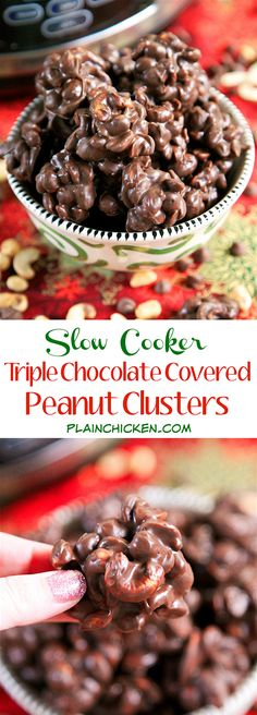 {Slow Cooker} Triple Chocolate Covered Peanut Clusters recipe - three types of chocolate, peanuts and cashews slow cook for 2 hours. Perfect for parties and homemade gifts. Can make and freeze for up to 1 month. Everybody raves about these! Crock Pot Desserts, Crock Pot Cooking, Cooking Recipes, Crockpot Recipes, Candy Recipes, Holiday Recipes, Holiday Treats, Nut Recipes, Fudge Recipes