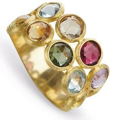 MARCO BICEGO 18K yellow gold two row ring with rose cut cushion multi-colored semi-precious gemstones. Inspired by a tropical Indian sunset and the stone-cutting heritage of Jaipur, this Jaipur Color Multicolor Gemstone Ring is hand engraved by Italian artisans. (=)
