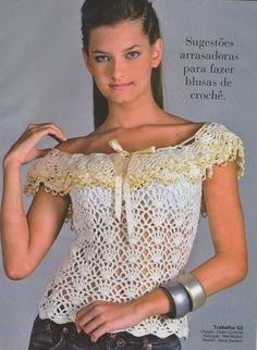AS RECEITAS DE CROCHÊ: Blusa Margareth em crochê