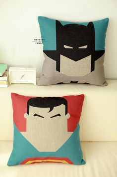 Batman Superman cushion Ready to use Creative by WeekendFamily Boy Room, Kids Room, Deco Kids, Superhero Room, Geek Crafts, Diy Décoration, Batman And Superman, Soft Furnishings, Cushion Covers