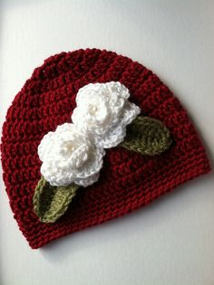 Christmas Crochet Baby Hat with Flowers Red by LakeviewCottageKids, $28.00