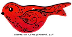 "Red Bird [CBR16]  Painted & Designed by Joan Dahl Dimension: 1-3/4"" (4 cm.) x 4"" (10 cm.) Collector Christmas Ornaments For You...! Order these Unique Handpainted Collector Ornaments today for yourself and as gifts for those persons that have ""everything"". Click On -> www.rosemal.com"