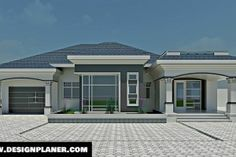 Designed Home Plans - A Turn-key Construction Services Single Floor House Design, Home Design Floor Plans, House Floor Plans, Tuscan House Plans, Modern House Plans, Modern House Design, Modern Bungalow House, Bungalow House Plans, Bungalow Designs