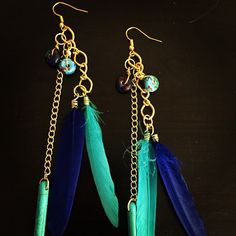 aaseagypsy jewels; shades of blue gypsy jangle dangle festival feather earrings;