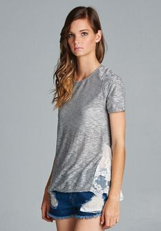 Heather and Lace Silver Tee Shirt