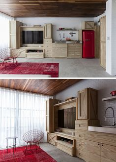 Brazilian architect Alan Chu designed this compact kitchen/entertainment wall.