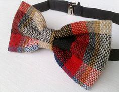 Men's plaid bow tie  handmade wool bow tie  by KristineBridal, $39.99