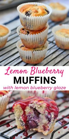 These Lemon Blueberry Muffins are the perfect afternoon tea treat or lunchbox snack. Super light, fluffy and easy to make, these homemade muffins from scratch are topped with a delicious Lemon Blueberry Glaze for a truely decadent dessert. Muffin Recipes, Baking Recipes, Snack Recipes, Dessert Recipes, Lemon Recipes, Easy Recipes, Breakfast Recipes, Lemon Blueberry Muffins, Blueberry Recipes