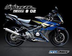 Modifikasi Decal Ninja 150 RR New Warna Hitam Motif Nekku 8 02 Biru Kuning