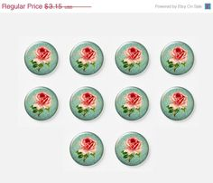 SALE 10 pcs 12mm Photo Glass Cabochons Flower by mixnmatchsupplies, $2.84