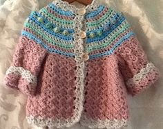 Items similar to Little girls hand crochet sweater size 1 to 2 with matching hat. Baby Girl Crochet, Crochet Baby Clothes, Crochet For Kids, Hand Crochet, Knit Crochet, Crochet Baby Blanket Free Pattern, Crochet Baby Jacket, Girls Sweaters, Fall Sweaters
