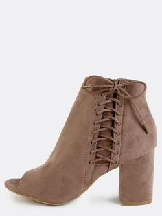 e612f4c5fc0fc Be a total babe in the Suede Lace Up Side Ankle Boots! Features a peep
