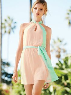 Colorblock Halter Dress Pink and Mint Green
