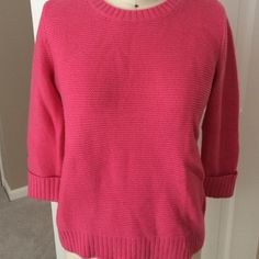 Pink GAP knit sweater size small Pink knit sweater, size small, 3/4 cuffed sleeve, rubbing detail on neck, waist and sleeve cuff, 4 buttons details one one side GAP Sweaters