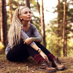 dreadlocks dread hippie girl gypsy boho country style look hair blond
