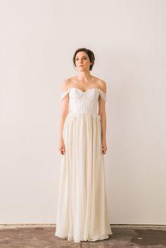 Lace Wedding Dress with Ivory Silk Chiffon Skirt by JillianFellers